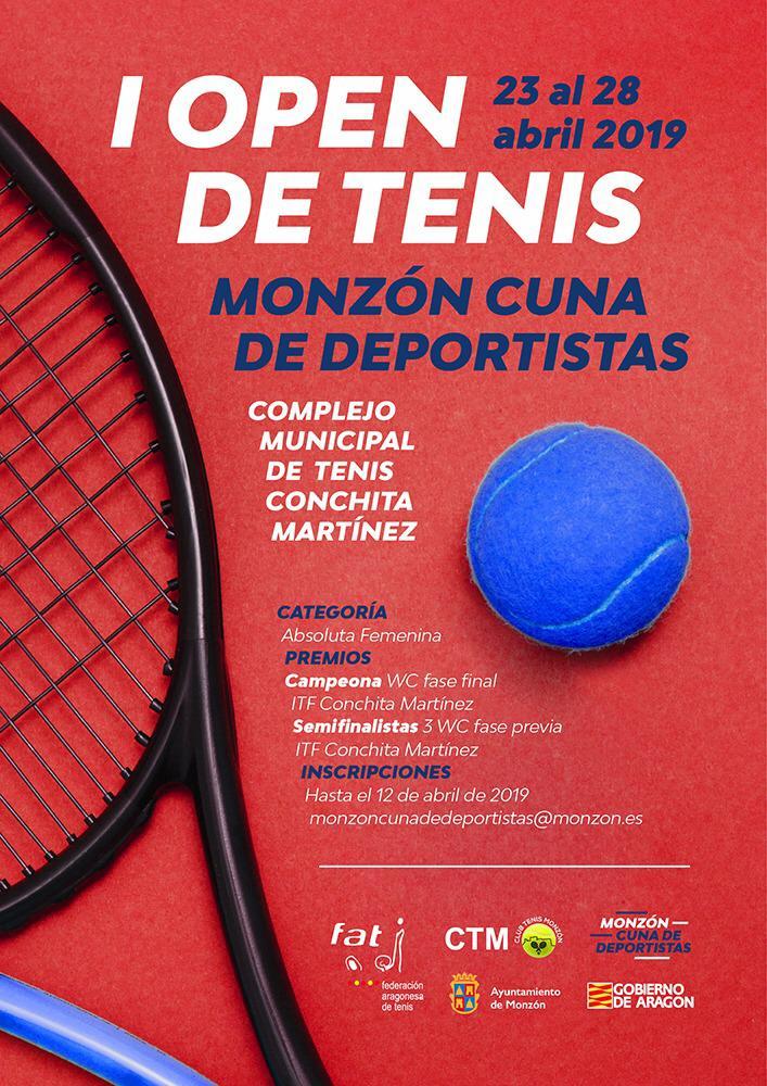 Cartel I Open Tenis Monzón Cuna de Deportistas 2019