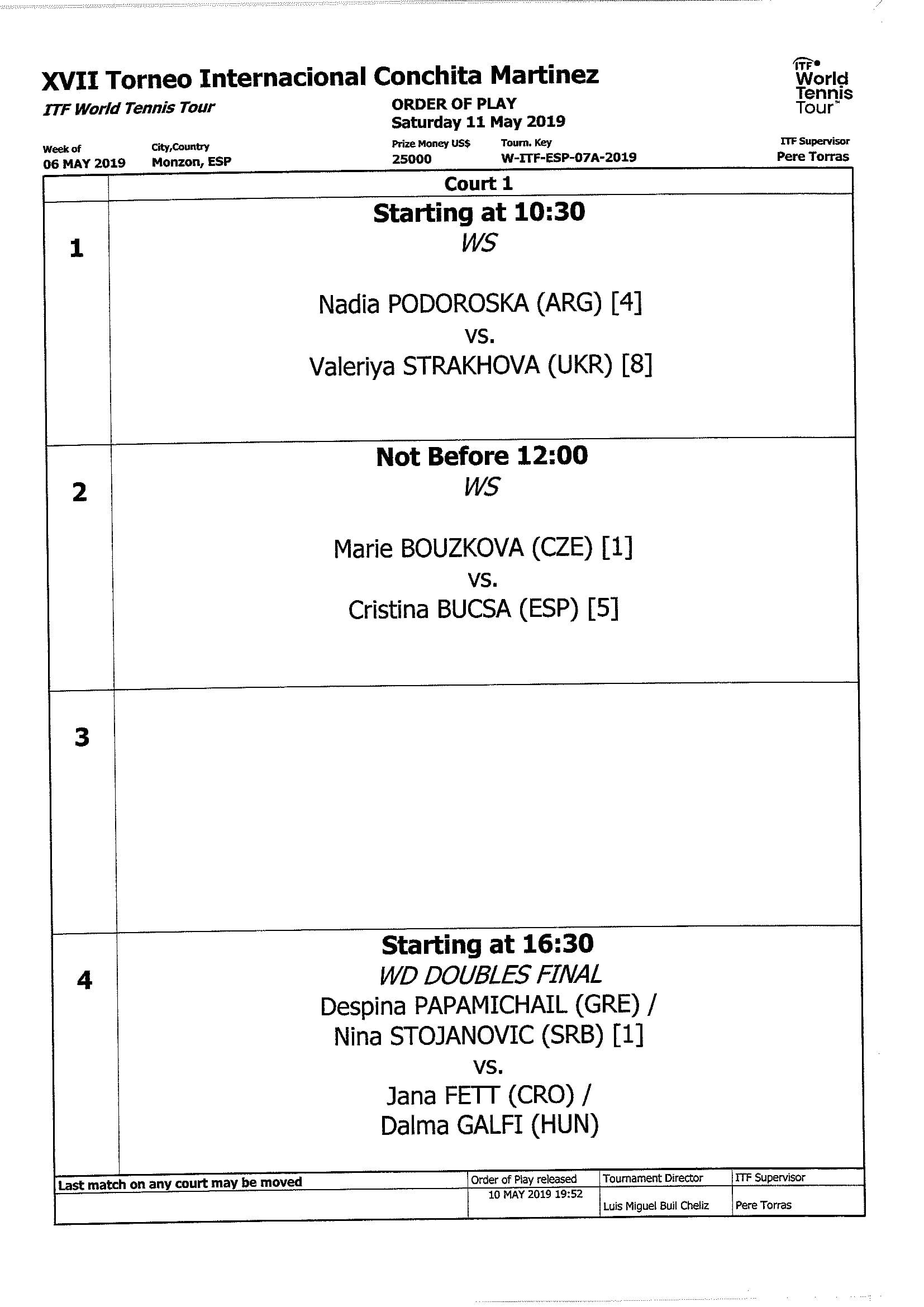 Programa torneo Conchita Martínez XVII (11-05-2019)